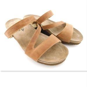 NAOT Beige Natural Leather Strap Slide Sandal 7/38